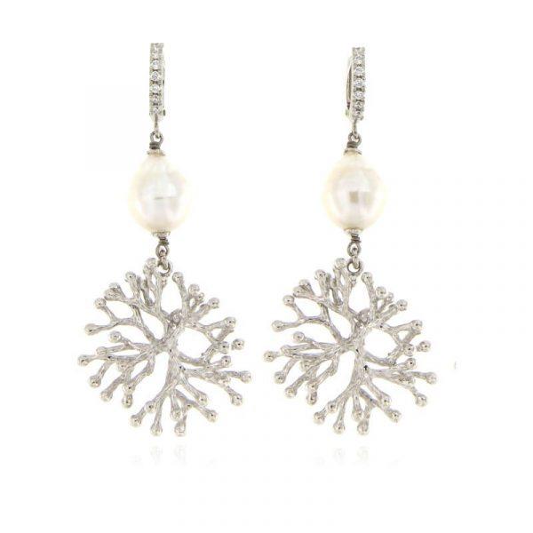 Orecchini perla ramo corallo argento925