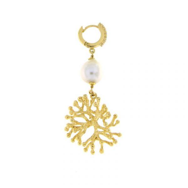 orecchini perla ramo corallo dettaglio