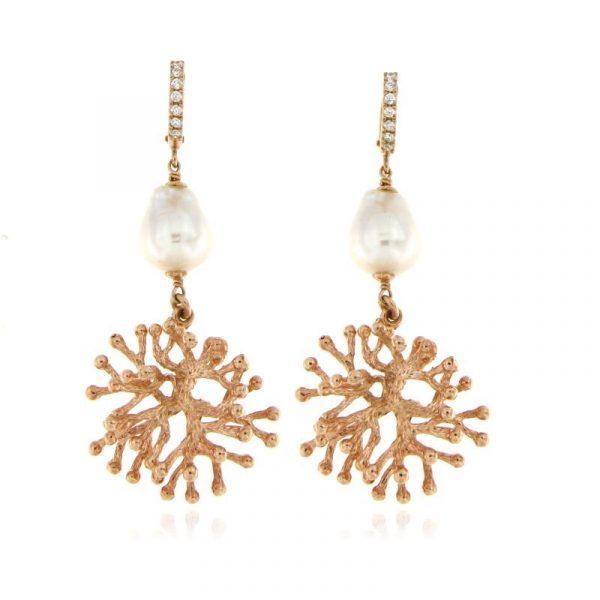 orecchini perla ramo corallo dorati rosa